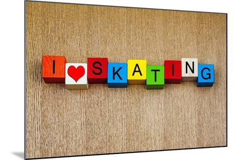 Skating - Sign for Ice and Roller Skating and Skateboarding-EdSamuel-Mounted Photographic Print