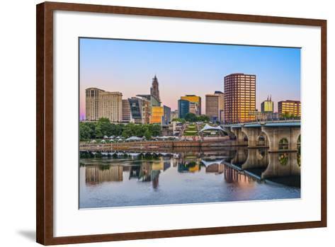 Skyline of Downtown Hartford, Connecticut.-SeanPavonePhoto-Framed Art Print