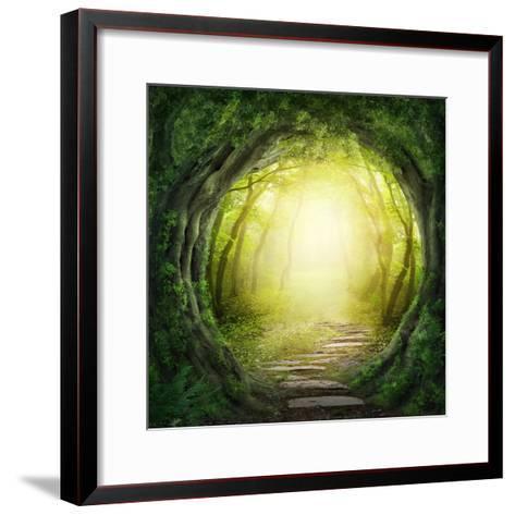 Road in Magic Dark Forest-egal-Framed Art Print