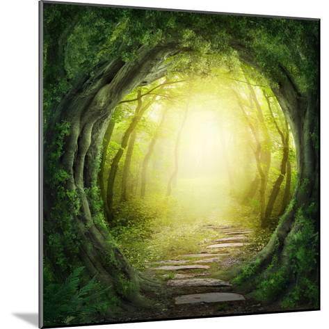 Road in Magic Dark Forest-egal-Mounted Photographic Print