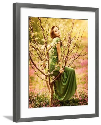 Fairy-Tail Forest Nymph, Beautiful Sexy Woman at Spring Garden, Wearing Long Dress, Sitting on Bloo-Anna Omelchenko-Framed Art Print