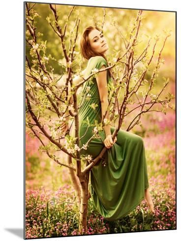 Fairy-Tail Forest Nymph, Beautiful Sexy Woman at Spring Garden, Wearing Long Dress, Sitting on Bloo-Anna Omelchenko-Mounted Photographic Print