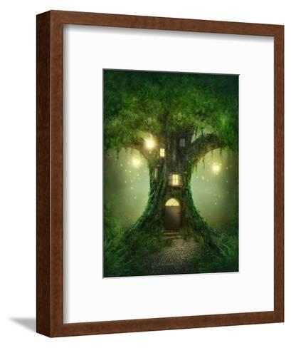 Fantasy Tree House in Forest-egal-Framed Art Print