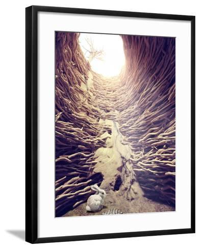 Rabbit and Chess in Deep Hole toward the Sunlight. Creative Concept-viczast-Framed Art Print