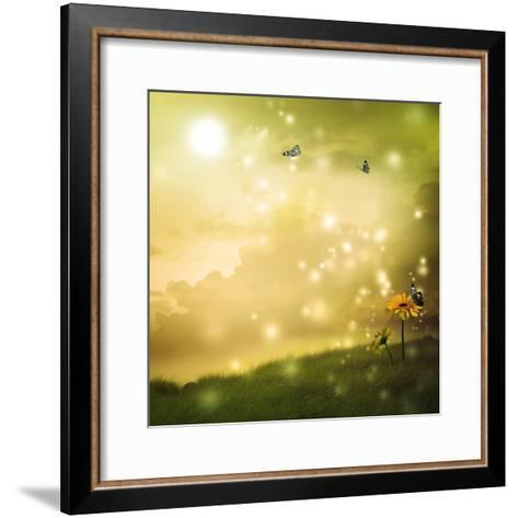 Yellow Gerberas with Butterflies in A Fantasy Hill-Melpomene-Framed Art Print