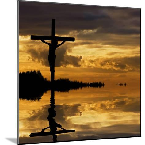 Jesus Christ Crucifixion on Good Friday Silhouette Reflected in Lake Water-Veneratio-Mounted Photographic Print