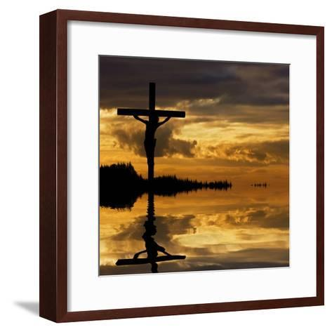 Jesus Christ Crucifixion on Good Friday Silhouette Reflected in Lake Water-Veneratio-Framed Art Print