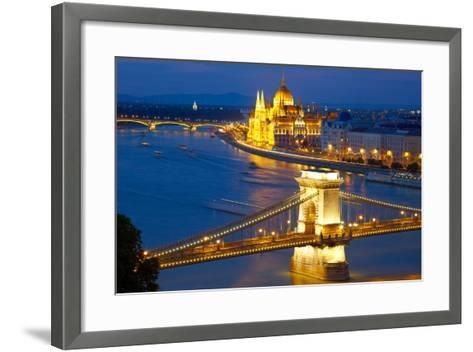 Budapest, Hungary. Chain Bridge and the Parliament-silver-john-Framed Art Print