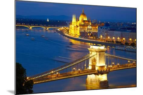 Budapest, Hungary. Chain Bridge and the Parliament-silver-john-Mounted Photographic Print