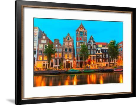 Night City View of Amsterdam Canal Herengracht-kavalenkava volha-Framed Art Print