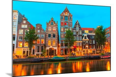 Night City View of Amsterdam Canal Herengracht-kavalenkava volha-Mounted Photographic Print