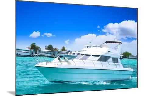 Luxury Yatch in Beautiful Ocean-SurangaWeeratunga-Mounted Photographic Print