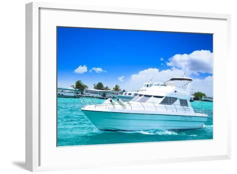 Luxury Yatch in Beautiful Ocean-SurangaWeeratunga-Framed Art Print