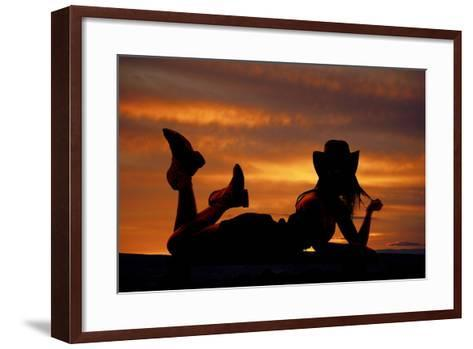 Cowgirl Lay Stomach Silhouette-Alan and Vicena Poulson-Framed Art Print