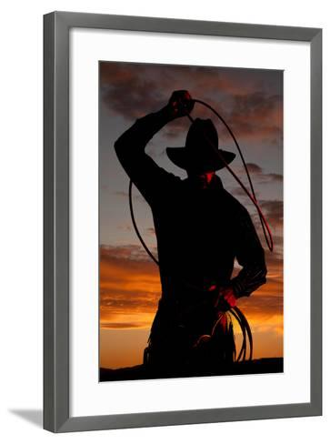 Cowboy in Sunset with Rope-Alan and Vicena Poulson-Framed Art Print