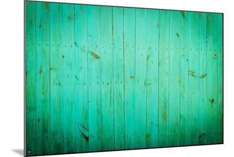 Green Wood Background. Close-Up View of Old Wood Wall Colored in Green.-Madredus-Mounted Photographic Print