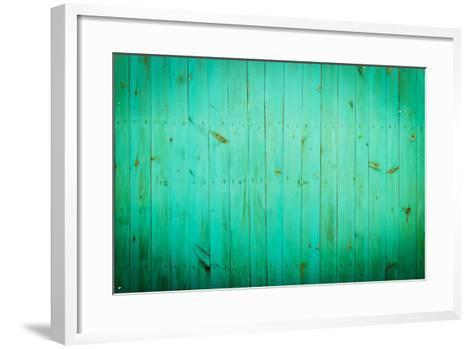 Green Wood Background. Close-Up View of Old Wood Wall Colored in Green.-Madredus-Framed Art Print