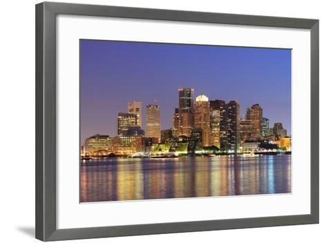 Boston Downtown Skyline Panorama with Skyscrapers over Water with Reflections at Dusk Illuminated W-Songquan Deng-Framed Art Print