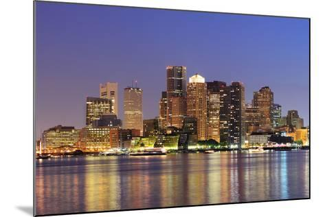 Boston Downtown Skyline Panorama with Skyscrapers over Water with Reflections at Dusk Illuminated W-Songquan Deng-Mounted Photographic Print