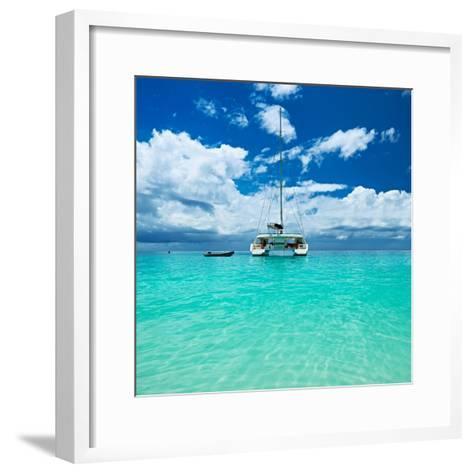 Beautiful Beach with Boat at Seychelles, Praslin, Anse Lazio-haveseen-Framed Art Print