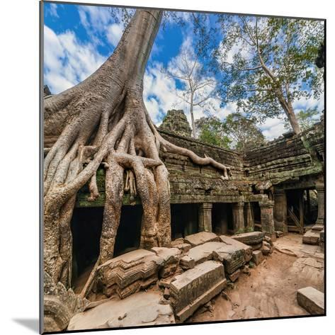 Ancient Khmer Architecture. Ta Prohm Temple with Giant Banyan Tree at Angkor Wat Complex, Siem Reap-Im Perfect Lazybones-Mounted Photographic Print