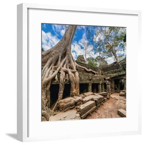 Ancient Khmer Architecture. Ta Prohm Temple with Giant Banyan Tree at Angkor Wat Complex, Siem Reap-Im Perfect Lazybones-Framed Art Print