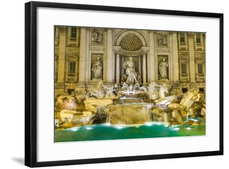 Neptune Statue of the Trevi Fountain in Rome Italy-David Ionut-Framed Art Print