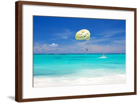 Beautiful Caribbean Beach in Dominican Republic. Unrecognizable People.-haveseen-Framed Art Print