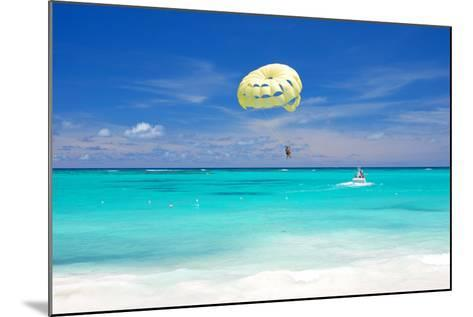 Beautiful Caribbean Beach in Dominican Republic. Unrecognizable People.-haveseen-Mounted Photographic Print