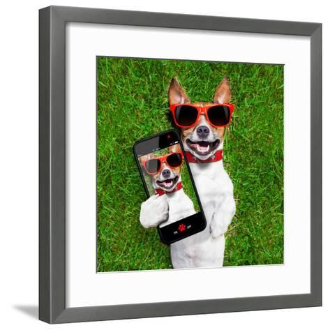 Funny Selfie Dog-Javier Brosch-Framed Art Print