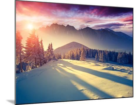 Fantastic Evening Landscape in a Colorful Sunlight. Dramatic Wintry Scene. National Park Carpathian-Leonid Tit-Mounted Photographic Print