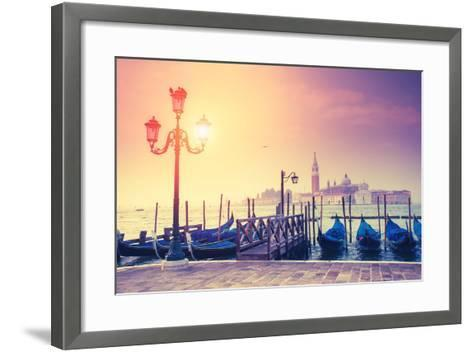 Amazing View of Grand Canal at Sunset with San Giorgio Maggiore Church. San Marco, Venice, Italy, E-Leonid Tit-Framed Art Print