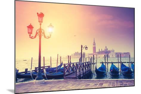 Amazing View of Grand Canal at Sunset with San Giorgio Maggiore Church. San Marco, Venice, Italy, E-Leonid Tit-Mounted Photographic Print
