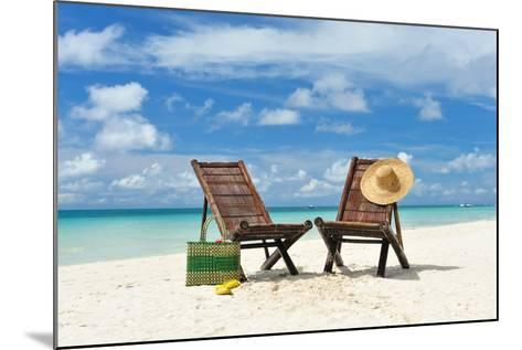 Beautiful Beach with Chaise Lounge-haveseen-Mounted Photographic Print