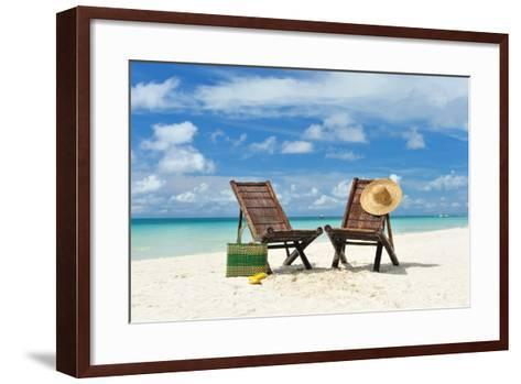 Beautiful Beach with Chaise Lounge-haveseen-Framed Art Print