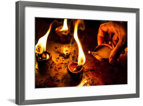 Burning Candles in the Indian Temple during Diwali, The Festival of Lights-Andrey Armyagov-Framed Art Print