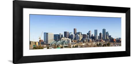 Denver Colorado City Skyline from West Side of Town. Snow Covered Ground Winter.-Ambient Ideas-Framed Art Print