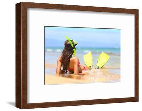 Woman Relaxing on Summer Beach Vacation Holidays Lying in Sand with Snorkeling Mask and Fins Smilin-Maridav-Framed Art Print