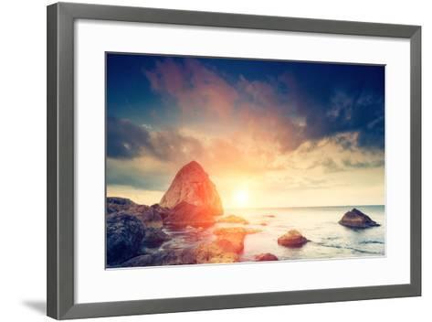 Fantastic Morning Blue Sea Glowing by Sunlight. Dramatic Scene. Black Sea, Crimea, Ukraine, Europe.-Leonid Tit-Framed Art Print