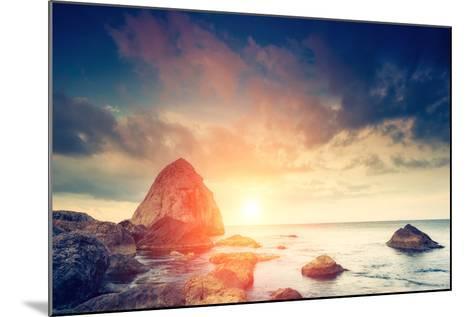 Fantastic Morning Blue Sea Glowing by Sunlight. Dramatic Scene. Black Sea, Crimea, Ukraine, Europe.-Leonid Tit-Mounted Photographic Print