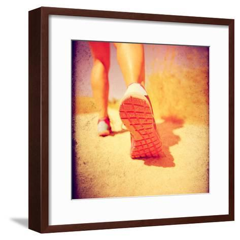 An Athletic Pair of Legs Running or Jogging on a Path during Summer Toned with a Soft Vintage Insta-graphicphoto-Framed Art Print