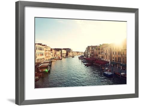 Grand Canal, Venice, Italy, Called Canal Grande in Italian, as Seen from Rialto Bridge. Beautiful V-Maridav-Framed Art Print