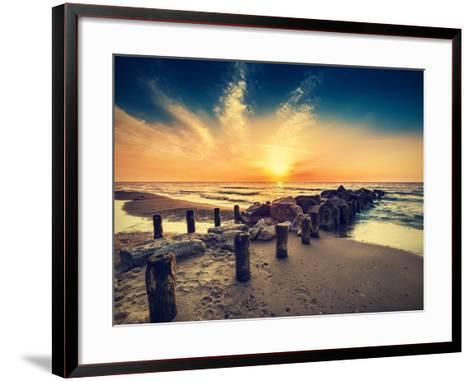 Vintage Retro Photo of Beach at Sunset.-Maciej Bledowski-Framed Art Print