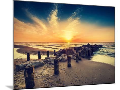 Vintage Retro Photo of Beach at Sunset.-Maciej Bledowski-Mounted Photographic Print