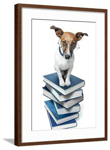 Dog Book Stack-Javier Brosch-Framed Art Print