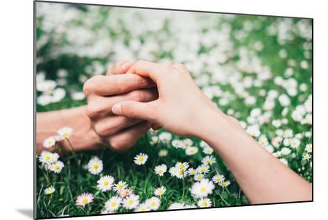 Lovers Holding Hands on Spring Flowers Field-Dirima-Mounted Photographic Print
