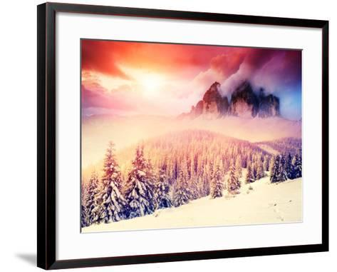 Fantastic Evening Landscape in a Colorful Sunlight. Dramatic Wintry Scene. National Park Carpathian-Leonid Tit-Framed Art Print