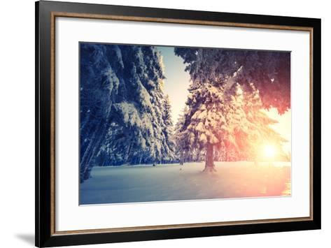 Fantastic Evening Landscape in a Colorful Sunlight. Dramatic Wintry Scene. National Park Carpathian-Leonid Tit-Framed Art Print