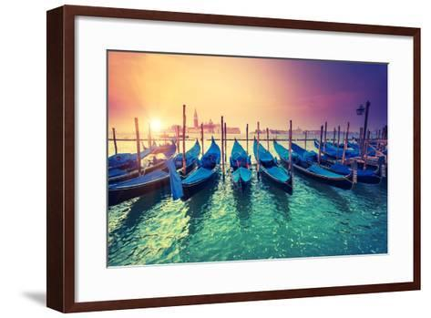 Amazing View of Grand Canal at Sunset with San Giorgio Maggiore Church. San Marco, Venice, Italy, B-Leonid Tit-Framed Art Print
