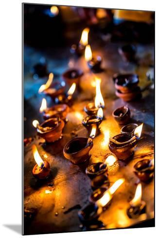 Burning Candles in the Indian Temple during Diwali, The Festival of Lights-Andrey Armyagov-Mounted Photographic Print